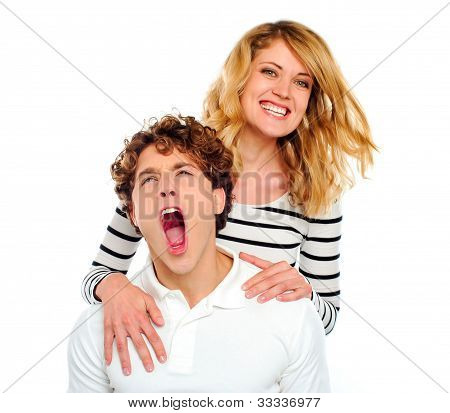 Couple, Girl Smiling Boy Yawning