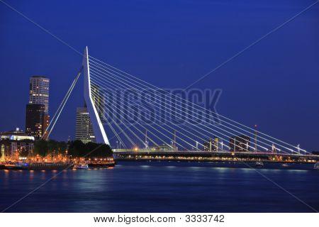 Erasmus Bridge On Meuse River, Rotterdam At Night