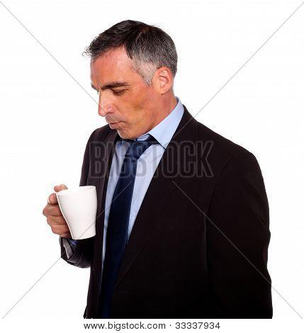 Businessman Looking To A Empty Mug