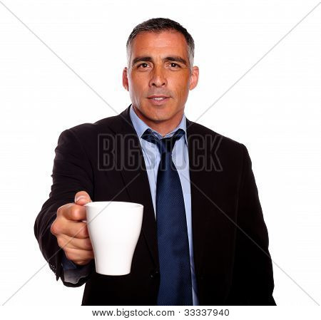 Attractive Executive With A White Mug