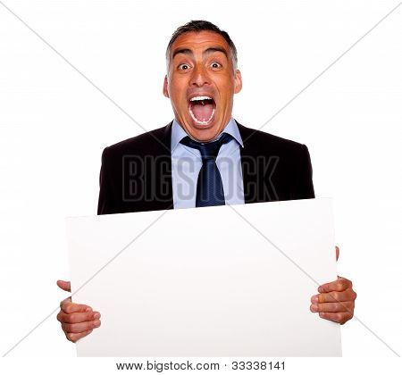 Hispanic Senior Businessman Screaming