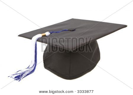 Graduation Cap With Blue White Tassel
