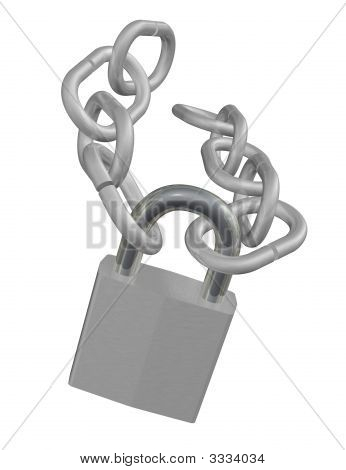 Silver Lock And Chain
