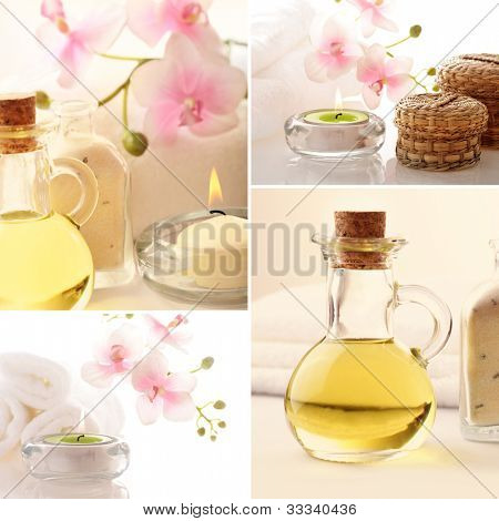 SPA still life with aromatherapy oil, candle and orchid flowers