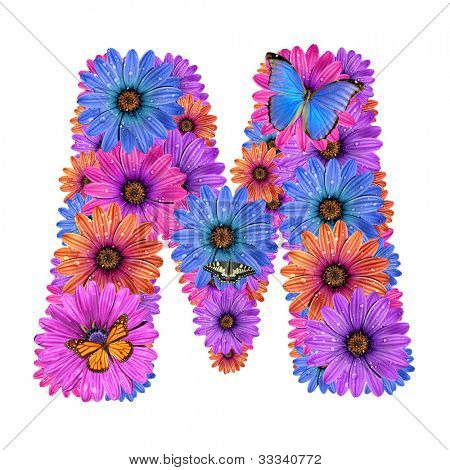 Alphabet of colorful dewy flowers with butterflies