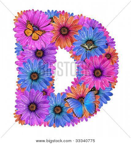 Alfabeto de flores orvalhadas coloridas com borboletas