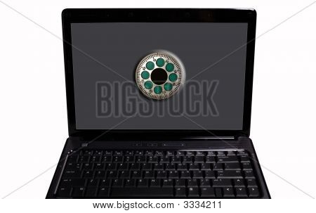 A Laptop Or Notebook Computer With A Safe Dial On The Screen.