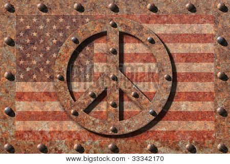 Riveted Peace Symbol and Flag