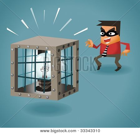 Stealing Idea. Vector illustration