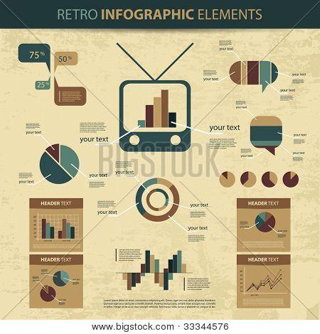 Retro vector set of infographic elements