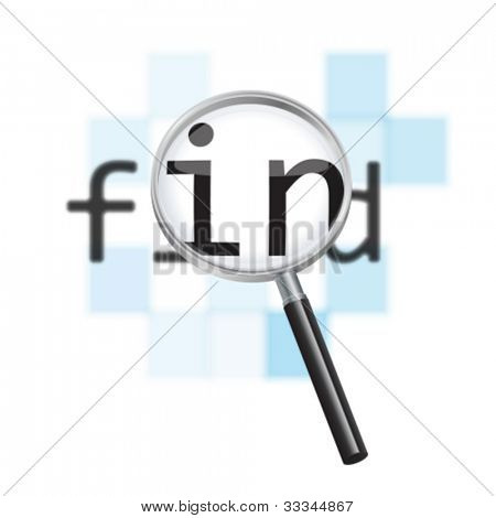 Vector internet search conceptual image. Magnifying glass focusing on the word 'find' against a defocused pixelated digital abstract background.