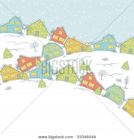 Christmas card, cute little town in winter