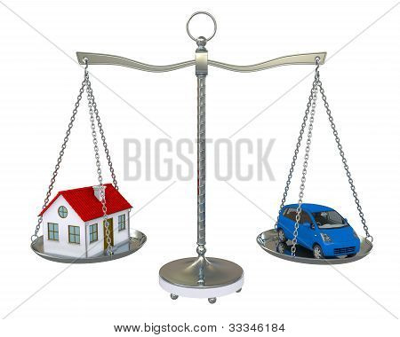 Home And Car Balance Scales. Isolated On White Background
