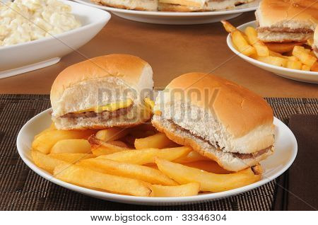 Mini Cheeseburgers And Fries