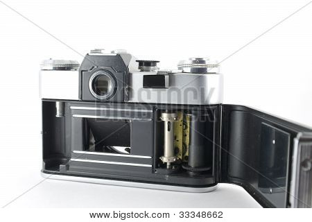 Old Film Camera With Open Lid