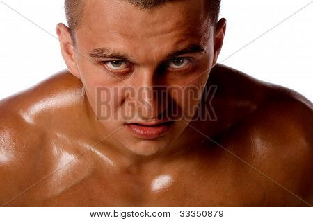 Muscled Male Model Bodybuilder Anger