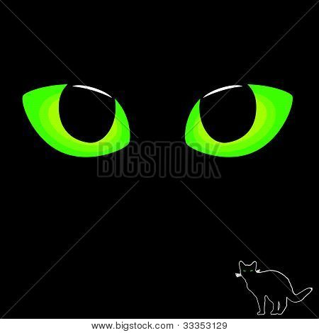 Cat Eye In Green Color With Black Cat Illustration