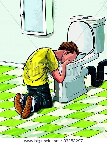 Cartoon teenager sick in toilet after drinking to much