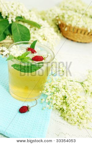 Tea From Elder With Strawberries