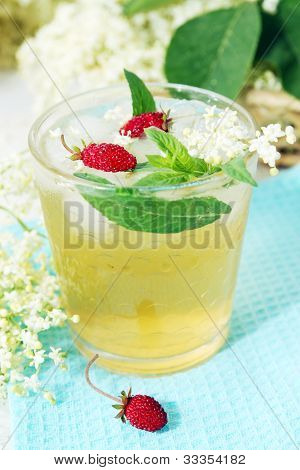 Beverage From Elder With Strawberries