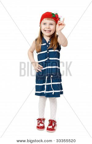 Happy Smiling Little Girl Isolate On White Background