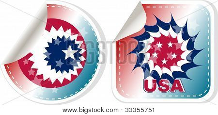 Made In Usa Stickers Set Isolated Over A White Background