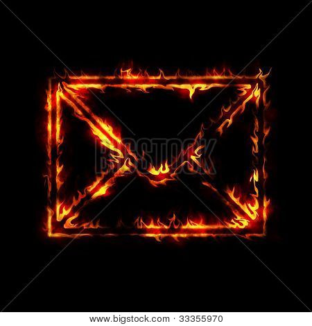Burning Envelope Post Sign From Fire On Black