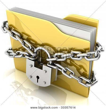 3D Folder Locked By Chains