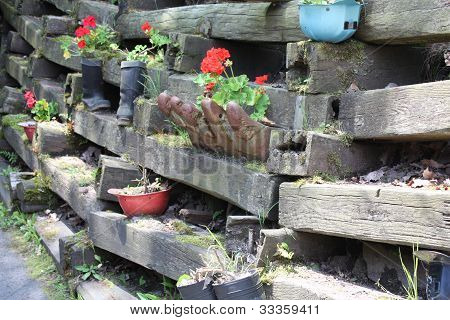 railroad ties fence flower garden image photo bigstock. Black Bedroom Furniture Sets. Home Design Ideas