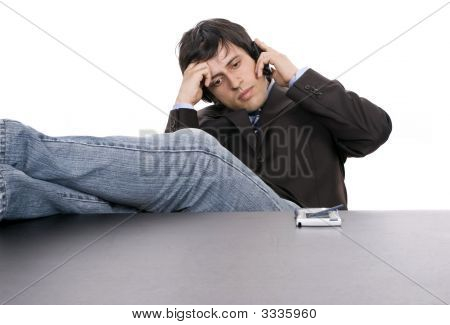 Young Worried Businessman On The Phone