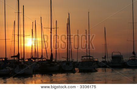 Sailboats In Port South Of France