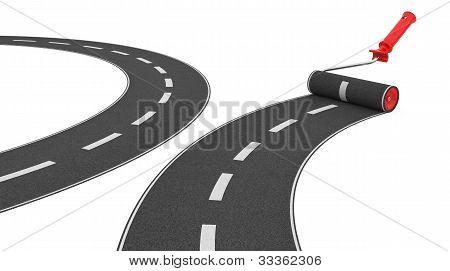 Roller Brush Paint Road