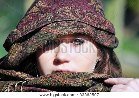 teenage girl with arabic headscarf