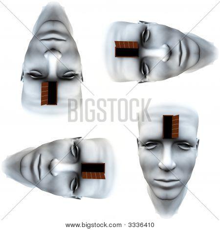 Many Open Heads Tile Pattern Background