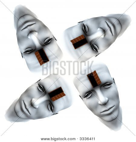 Many Open Heads Tile Pattern Background
