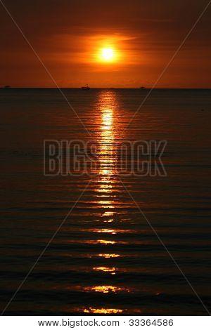 beautiful sunset at beach