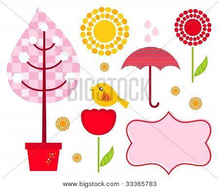 Cute Garden Elements Isolated On White