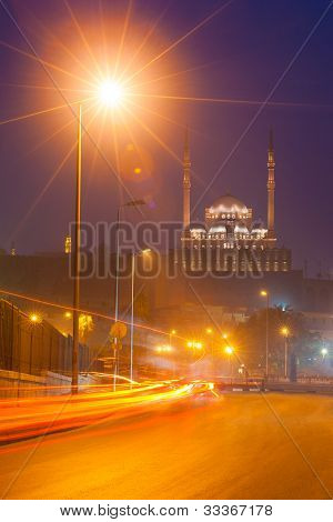 Cairo Egypt Citadel Dusk Trailing Lights