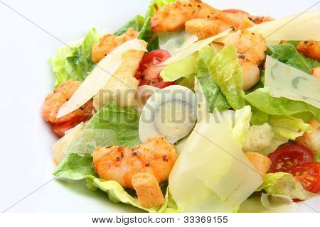 Closeup Caesar Salad With Shrimps