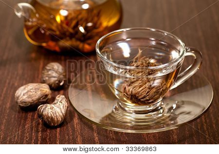 Blooming Tea In A Glass Cup