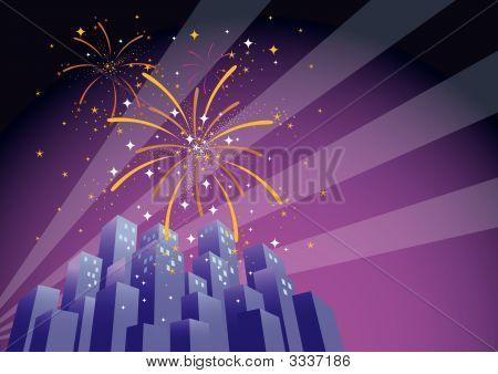 Fireworks Over A City Skyline-Horizontal