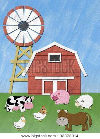 Farm Animal stand in front of barnyard and wind mill