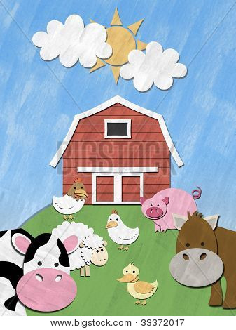 Farm animals stand in front of barnyard on sunny day