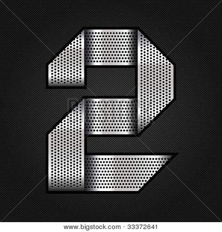 Number metal chrome ribbon - 2 - two