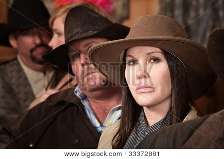 Tough Cowgirl In Saloon