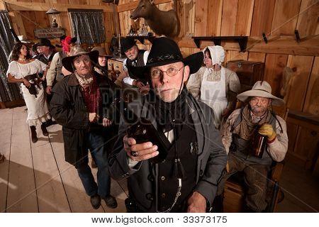 Sheriff With Empty Whiskey Bottle