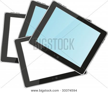Vector Tablets Pc ipad With Empty White And Blue Screen