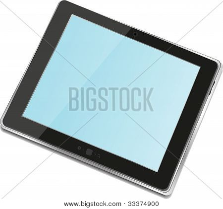 Alto detalladas negro Tablet Pc ipad en fondo blanco