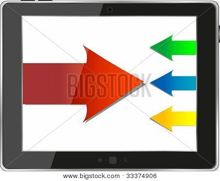 Tablet Pc ipad With Business Growth Graph Isolated