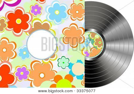 Vinyl Disc Cover In Texture Flowers Wrapping
